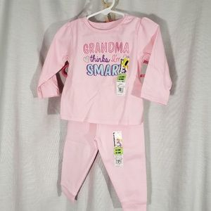 New Girls 6-9 Months Outfit Pants Shirt 2 Pc Set